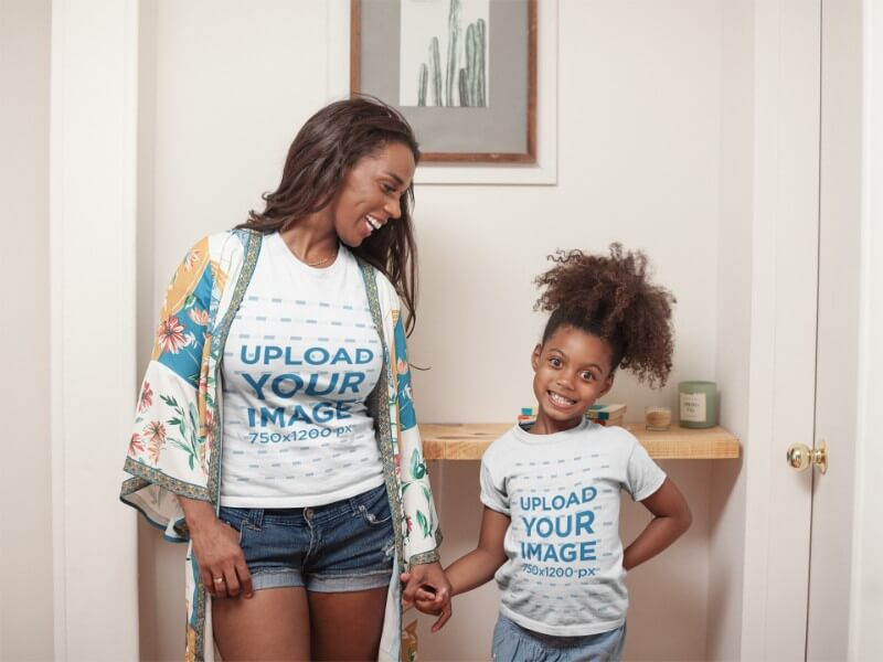 T Shirt Mockup Of A Happy Girl At Home With Her Mom A21329