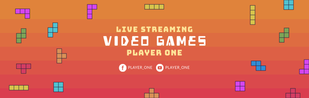 Tetris Themed Twitch Banner Template 586b