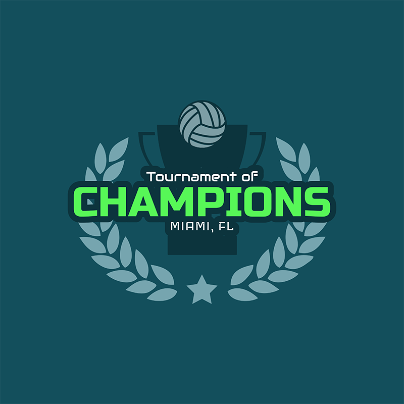 Volleyball Logo Template With Laurel Wreath